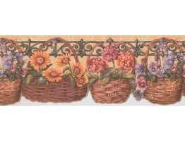 Prepasted Wallpaper Borders - Sunflower lily basket Wall Paper Border