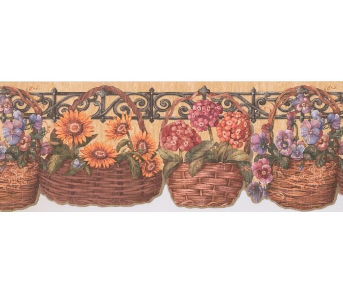 Sunflower Wallpaper Borders: Sunflower lily basket Wallpaper Border