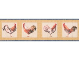 Blue Yellow Cream Roosters Wallpaper Border