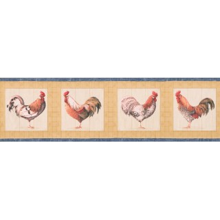 6 1/2 in x 15 ft Prepasted Wallpaper Borders - Blue Yellow Cream Roosters Wall Paper Border