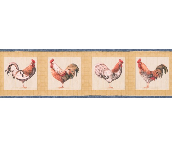 Prepasted Wallpaper Borders - Blue Yellow Cream Roosters Wall Paper Border