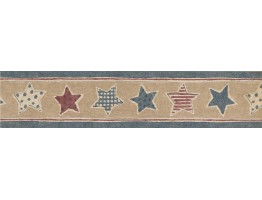 Prepasted Wallpaper Borders - Faded Blue Beige American Stars Wall Paper Border