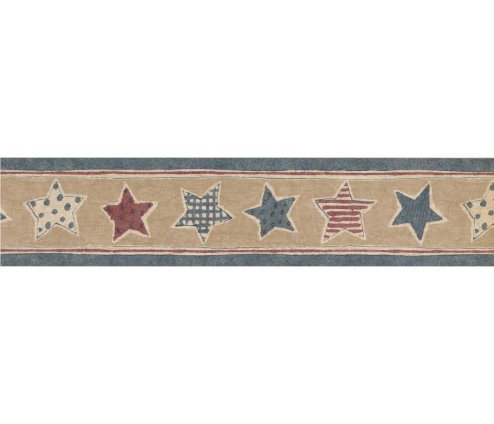 Novelty Wallpaper Borders: Faded Blue Beige American Stars Wallpaper Border
