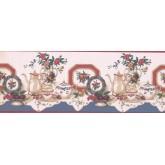 Kitchen Wallpaper Borders: Tea cup saucer flower rose vase plate Wallpaper Border