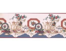 Prepasted Wallpaper Borders - Tea cup saucer flower rose vase plate Wall Paper Border