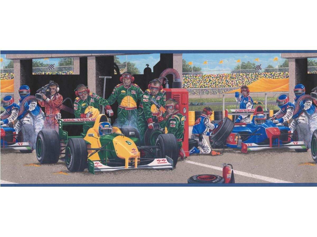 Blue Race Cars Wallpaper Border