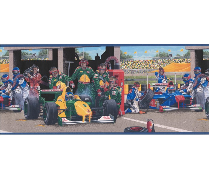 Clearance: Blue Race Cars Wallpaper Border