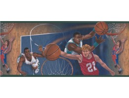 10 in x 15 ft Prepasted Wallpaper Borders - Green Basketball Close Up Shots Wall Paper Border