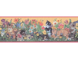 Prepasted Wallpaper Borders - Pink Yellow Floral Kittens Wall Paper Border