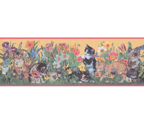 Garden Borders Pink Yellow Floral Kittens Wallpaper Border York Wallcoverings