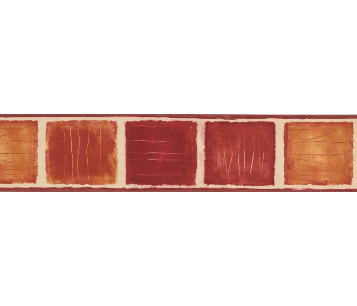 Clearance: Red Yellow Square paint Wallpaper Border