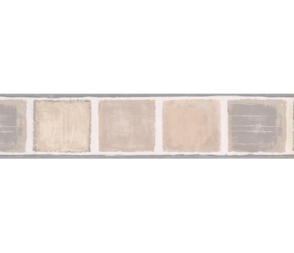 Contemporary Wall Borders: Grey Beige Squares Wallpaper Border