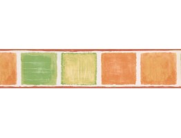 Orange Green Squares Wallpaper Border