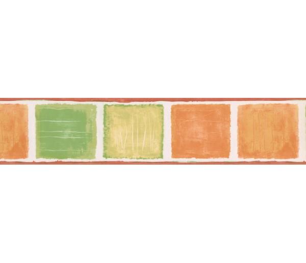 Contemporary Borders Orange Green Squares Wallpaper Border