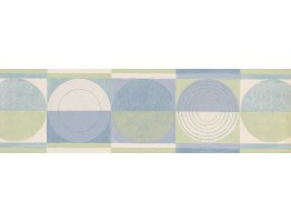 Prepasted Wallpaper Borders - Blue Green Circles Squares Wall Paper Border