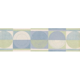 6 1/2 in x 15 ft Prepasted Wallpaper Borders - Blue Green Circles Squares Wall Paper Border