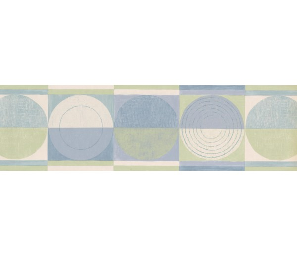 Contemporary Borders Blue Green Circles Squares Wallpaper Border York Wallcoverings