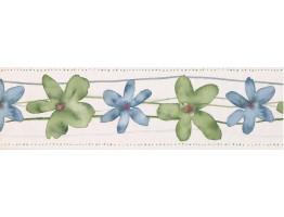 Cream Green Blue Watercolor Floral Wallpaper Border