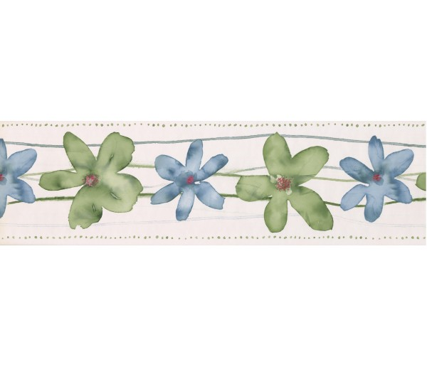 Floral Borders Cream Green Blue Watercolor Floral Wallpaper Border York Wallcoverings