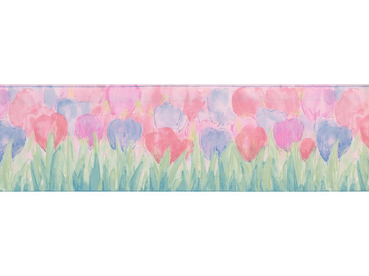 Blue Pink Tulips Wallpaper Border
