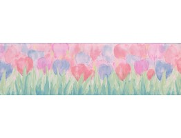6 1/2 in x 15 ft Prepasted Wallpaper Borders - Blue Pink Tulips Wall Paper Border