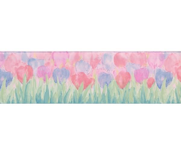 Kids Borders Blue Pink Tulips Wallpaper Border York Wallcoverings