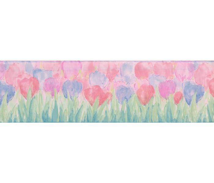 Kids Wallpaper Borders: Blue Pink Tulips Wallpaper Border
