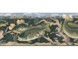 Prepasted Wallpaper Borders - Green Giant Fishes Wall Paper Border