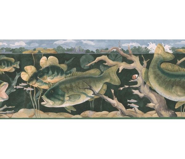 Fishing Wallpaper Borders: Green Giant Fishes Wallpaper Border