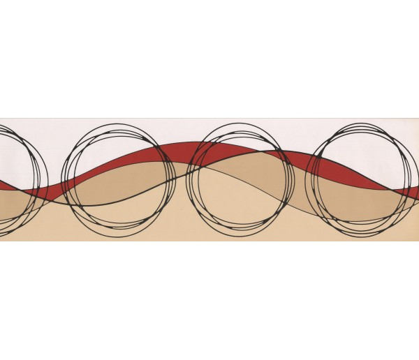 Prepasted Wallpaper Borders - Brown Circled Design Wall Paper Border