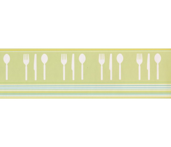 Prepasted Wallpaper Borders - Green Teal White Modern Cutlery Wall Paper Border
