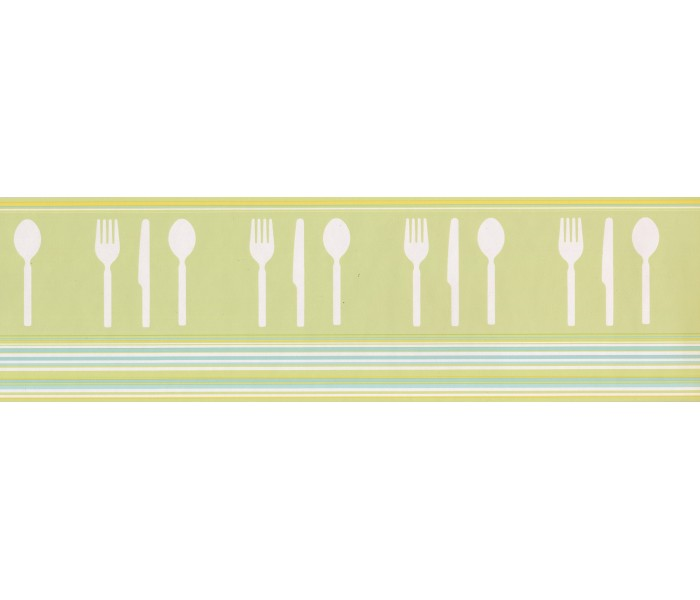 Clearance: Green Teal White Modern Cutlery Wallpaper Border