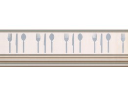 6 1/2 in x 15 ft Prepasted Wallpaper Borders - Brown Teal White Modern Cutlery Wall Paper Border