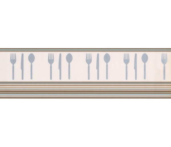 Prepasted Wallpaper Borders - Brown Teal White Modern Cutlery Wall Paper Border