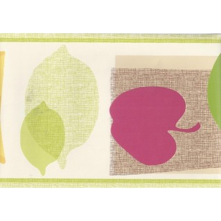 6 1/2 in x 15 ft Prepasted Wallpaper Borders - Green Cream Abstracts Fruits Wall Paper Border