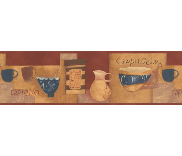 Kitchen Wallpaper Borders: Brown White Milk Coffee Wallpaper Border