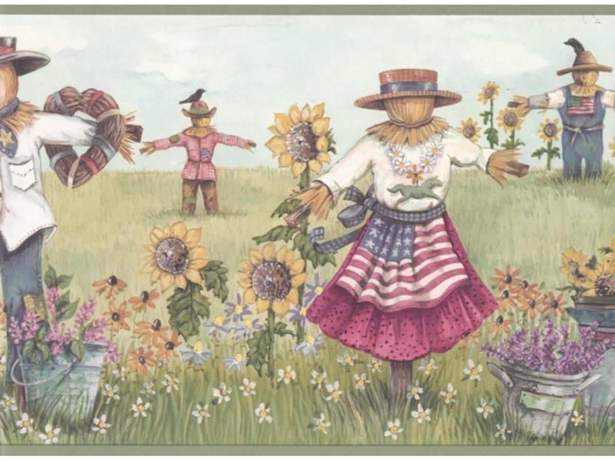 Olive Sunflower Scarecrows Wallpaper Border