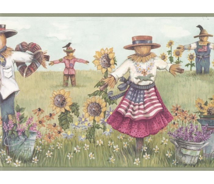 Country Wallpaper Borders: Olive Sunflower Scarecrows Wallpaper Border