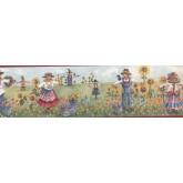 Sunflower Wallpaper Borders: Red Scarecrow Harvest Wallpaper Border