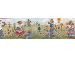 Prepasted Wallpaper Borders - Red Scarecrow Harvest Wall Paper Border