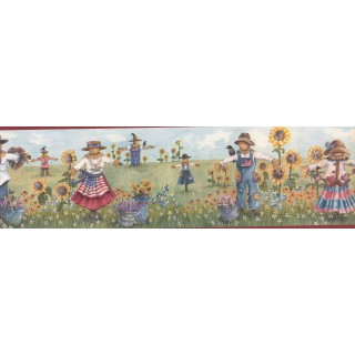 7 in x 15 ft Prepasted Wallpaper Borders - Red Scarecrow Harvest Wall Paper Border