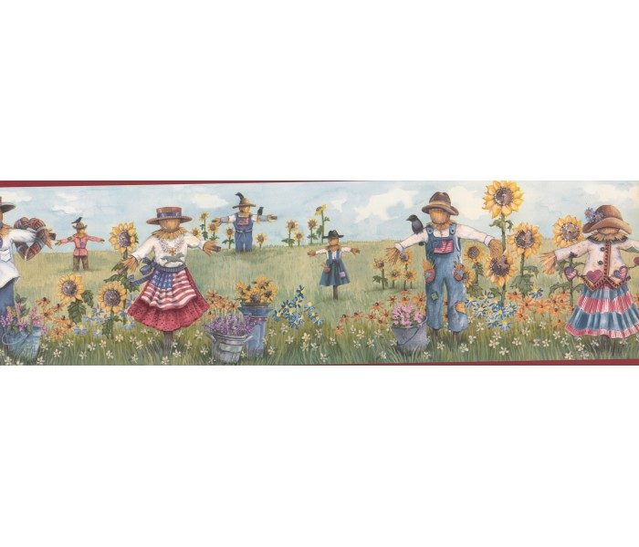 Sunflower Wallpaper Borders: Red Scarecrow Harvest Wallpaper Border