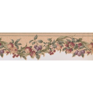 6 2/5 in x 15 ft Prepasted Wallpaper Borders - Cream Green Apples Cherries Floral Wall Paper Border