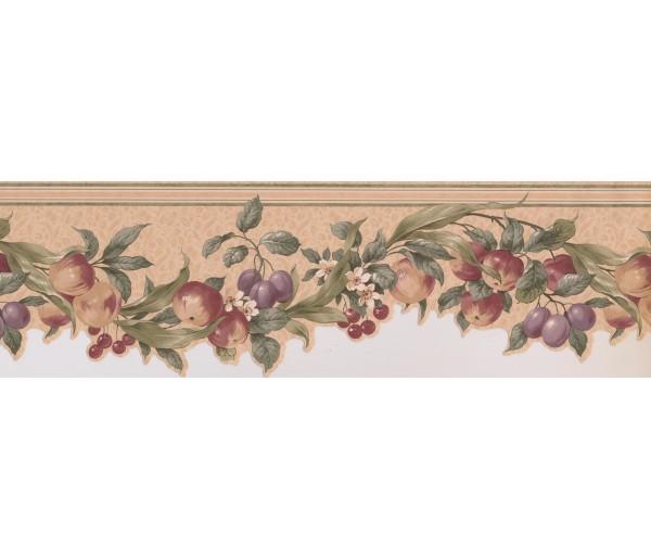 Garden Wallpaper Borders: Cream Green Apples Cherries Floral Wallpaper Border