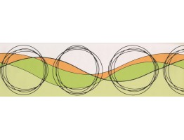 Prepasted Wallpaper Borders - Green White Circled Groove Wall Paper Border