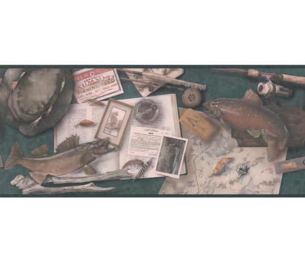 Hunting Taupe Framed Fishe Wallpaper Border York Wallcoverings