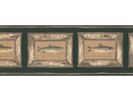 Prepasted Wallpaper Borders - Brown Framed Atlantic Salmon Wall Paper Border
