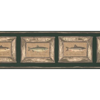 9 in x 15 ft Prepasted Wallpaper Borders - Brown Framed Atlantic Salmon Wall Paper Border