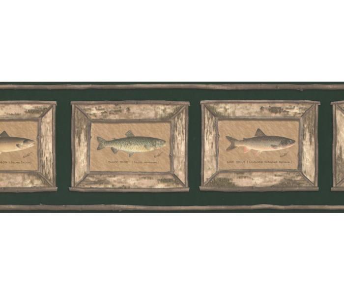 Clearance: Brown Framed Atlantic Salmon Wallpaper Border