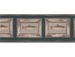 9 in x 15 ft Prepasted Wallpaper Borders - White Framed Atlantic Salmon Wall Paper Border